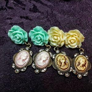 Rose and Cameo dangle earrings handmade OOAK NWT